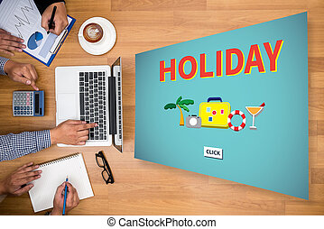 HOLIDAY HOMEPAGE Business team hands at work with financial...