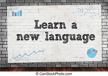 Learn a new language on brick wall and poster concept
