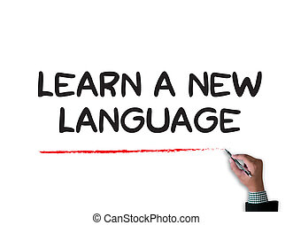 Learn a new language businessman work on white broad, top...