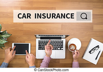 CAR INSURANCE Two Businessman working at office desk and...
