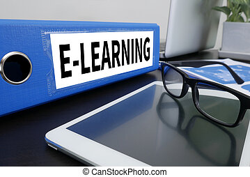 E-LEARNING Office folder on Desktop on table with Office...