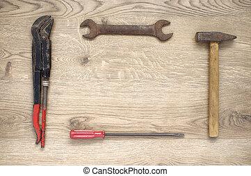 herramientas, marco, hecho, viejo
