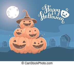 Vector halloween illustration of pile of decorative orange...