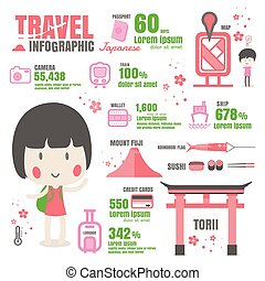 infographic japan Travel design vector on black background