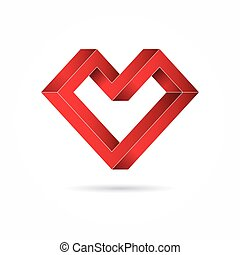 Heart abstract impossible geometric shapes.Valentine's Day....