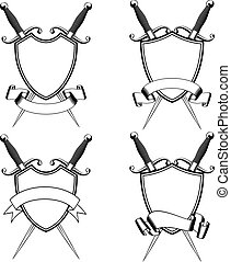 crossed daggers and shield - Vector illustration crossed...