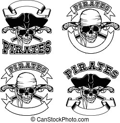 Pirate emblem skull - Vector illustration pirate emblem...