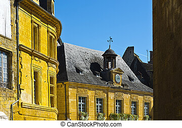 City of Sarlat - Black Tiles on the Peaked Roofs in French...