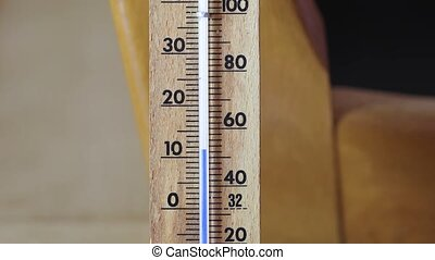 Thermometer with rising reading - Temperature rising shown...