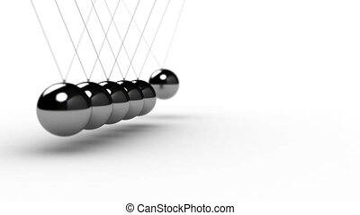 Newtons Cradle - Animation of Newtons Cradle over white...