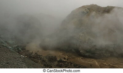 Stream from melting of glaciers on the active volcano...