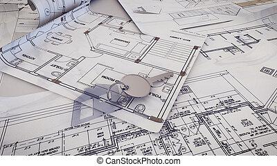 House Key - 3d rendering of House Key on a blueprints.