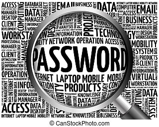 Password word cloud with magnifying glass, business concept...