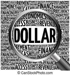 DOLLAR word cloud with magnifying glass