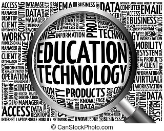 Education Technology word cloud with magnifying glass,...