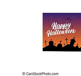 Happy Halloween hand written lettering card with bats and silhouettes of graves in the cemetery.