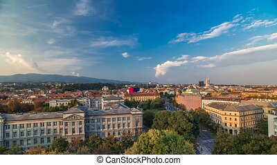 Panorama of the city center timelapse shoot from top of the skyscraper with a view to the intersection in front of national theater and museum in Zagreb, Croatia.