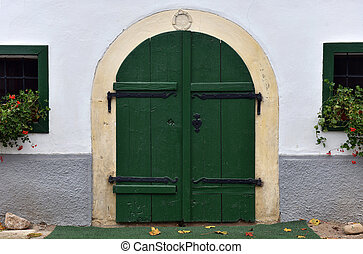 Entrance door to a basement, cellar in a house
