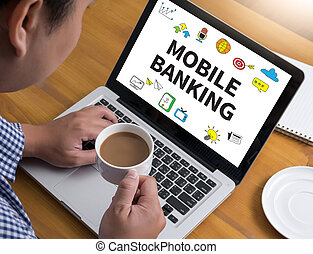 MOBILE BANKING Businessman at work. Close-up top view of man...