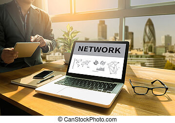 NETWORK (Network System Online Internet Web) Thoughtful male...