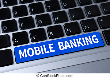 MOBILE BANKING a message on keyboard