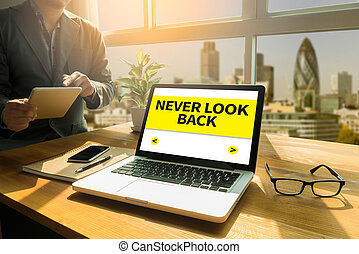 NEVER LOOK BACK Thoughtful male person looking to the...