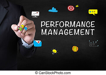 PERFORMANCE MANAGEMENT Businessman drawing Landing Page on...