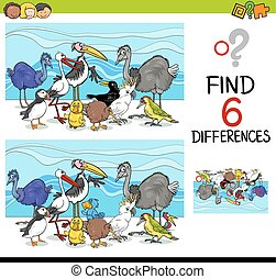 differences game with birds - Cartoon Illustration of...