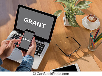 Grants desktop with accessories and distance work tools,...