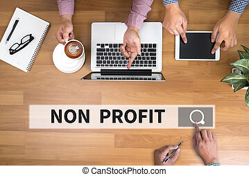 NON PROFIT man touch bar search and Two Businessman working...