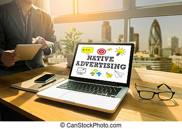 NATIVE ADVERTISING Thoughtful male person looking to the...