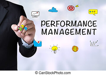 PERFORMANCE MANAGEMENT and Businessman drawing Landing Page...
