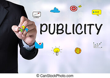 PUBLICITY and Businessman drawing Landing Page on blackboard