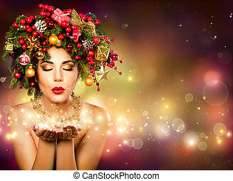 Christmas Wish - Model Fashion With Christmas Tree In...