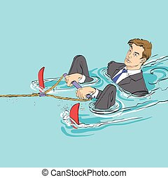 Business startup concept. Businessman in water skiing, hand...