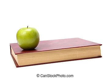 vit, bok,  Äpple, bakgrund, isolerat