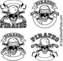 Pirate skull pistols - Vector illustration pirate skull and...