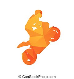 Abstract motorcycle rider. Orange polygonal vector...