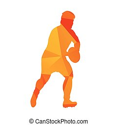 Abstract orange polygonal rugby player, vector silhouete