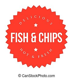 Fish and Chips vintage label red