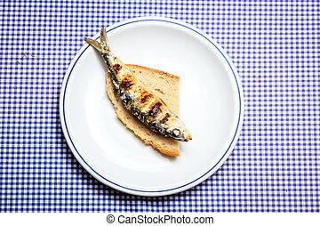 grillé, sardine, sur, couper, de, pain