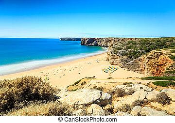Beliche Beach next to Sagres, Saint Vincent Cape, Portugal -...