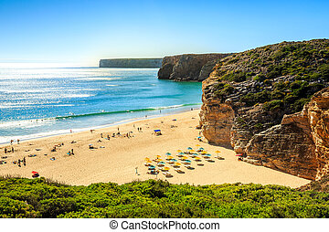 Beliche Beach next to Sagres, Saint Vincent Cape, Portugal -...