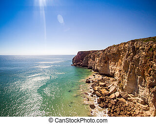 Cliffs of Beliche Beach, Saint Vincent Cape, Portugal -...