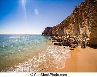 Cliffs of Beliche Beach, Saint Vincent Cape, Portugal -...