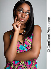 Thinking Woman - Pretty african american woman thinking