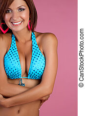 Latin Bikini Woman - Beautiful latin bikini woman smiling