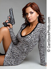 excitado, arma, mulher