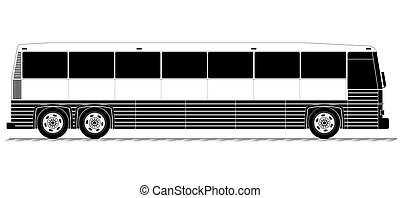 American typical country passenger bus. Black and white...