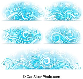 Banners of Stylized frosty ornament - Set of banners of...